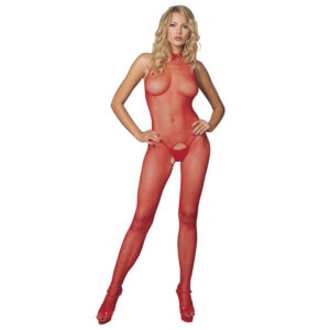 Leg Avenue Red Seamless High Neck Halter Bodystocking UK 8 to 14