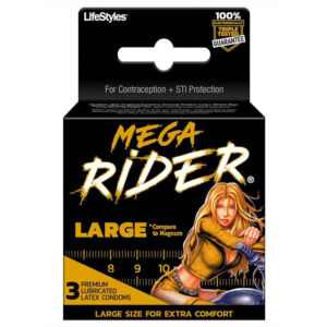 Mega Rider Large Latex Condoms 3pk