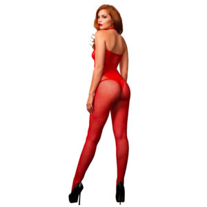 Leg Avenue Seamless Halter Body Stocking Red UK 8 to 14