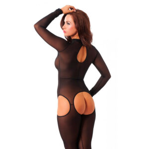 Sensual Black Open Crotch Catsuit